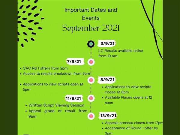 Key Dates Leaving Cert 2021