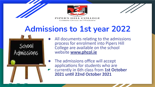 Admissions to 1st Year 2022